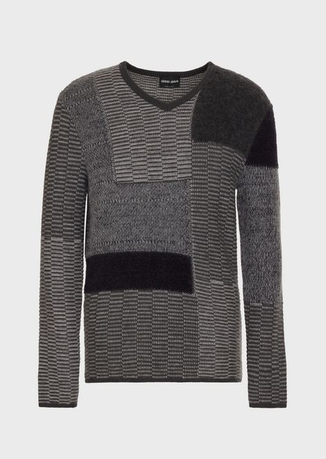 Multi-knit patchwork sweater