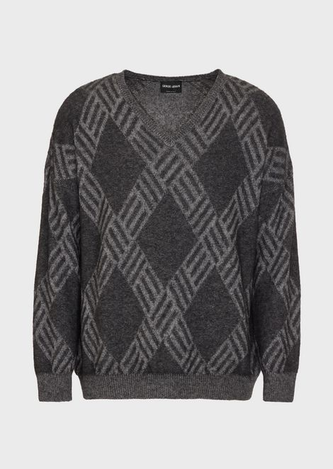 Flat-knit, plated jersey sweater in wool and cashmere