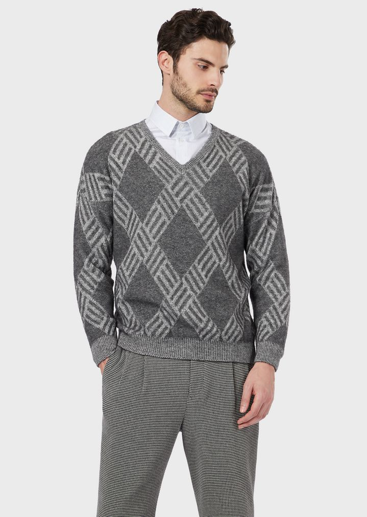 4baec43c04 Flat-knit, plated jersey sweater in wool and cashmere