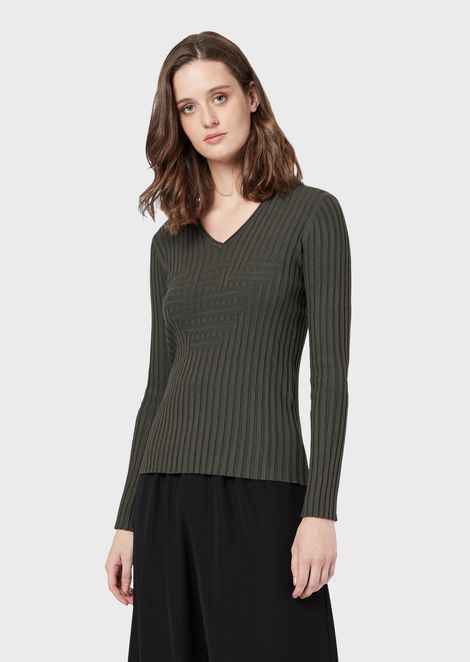 Ribbed V-neck sweater with stockinette-stitch maxi logo