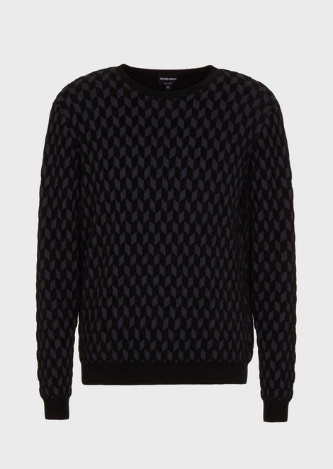 Jacquard sweater with diamonds in chenille