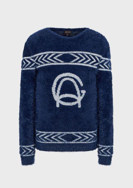 Jersey de jacquard con logotipo GA y decoraciones geométricas