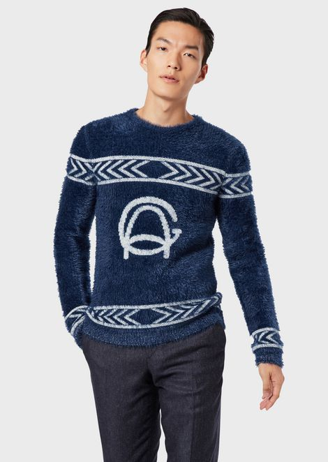 Jacquard sweater with GA logo and geometric decoration