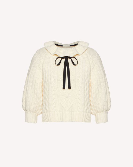 REDValentino Puff sleeve wool knit top