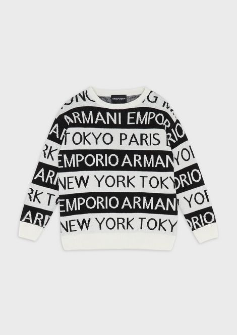 Sweater with jacquard motif of city names