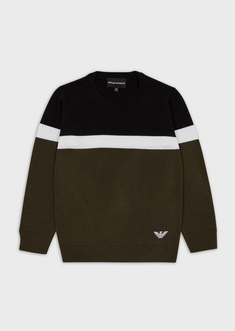 Three-colour wool sweater