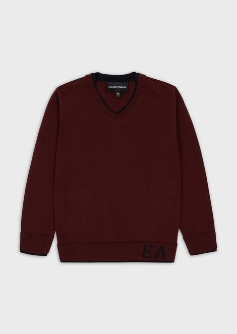 Mixed-wool sweater with jacquard logo