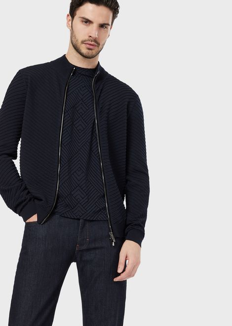 Full-zip, virgin wool cardigan in Ottoman stitch
