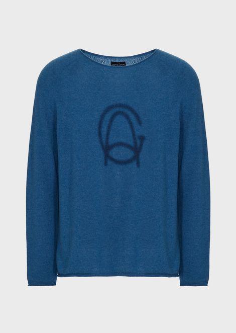 Jersey de cachemir con estampado de logotipo pigmentado