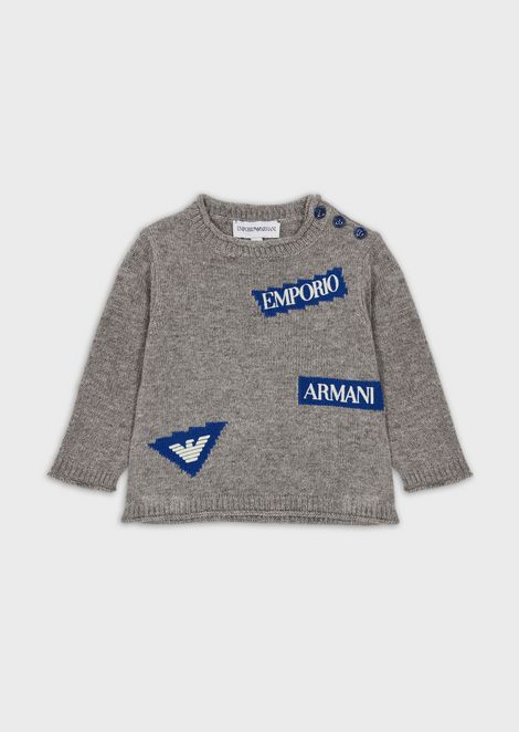 Sweater with jacquard logos and buttons on the shoulder