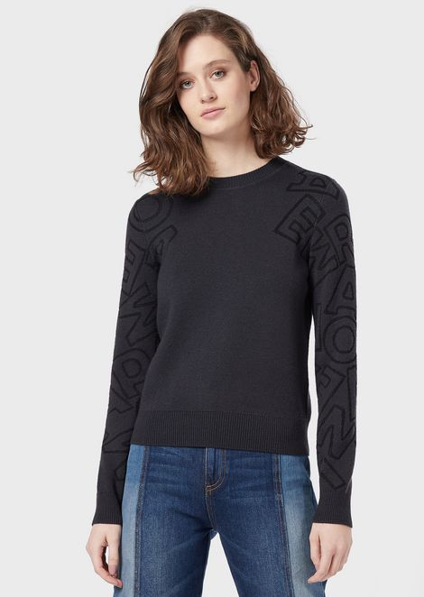 Sweater with jacquard-stitch logo on the sleeves