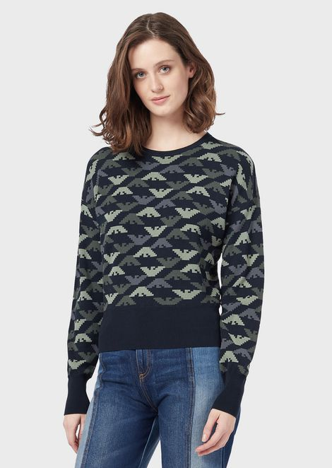 Sweater with all-over jacquard eagles