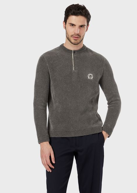 Henley sweater in piqué-stitch jacquard fabric with the GA logo