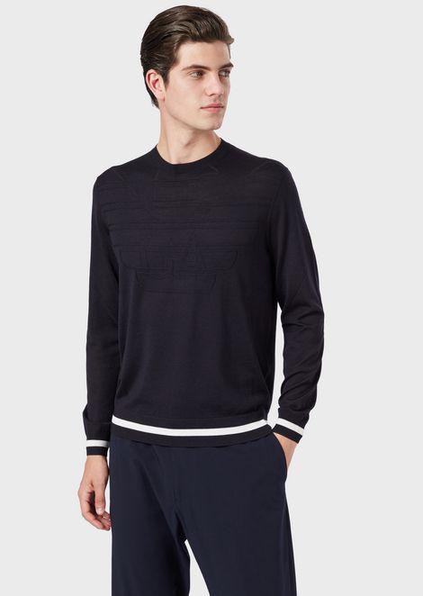 Pure virgin wool sweater with jacquard maxi eagle