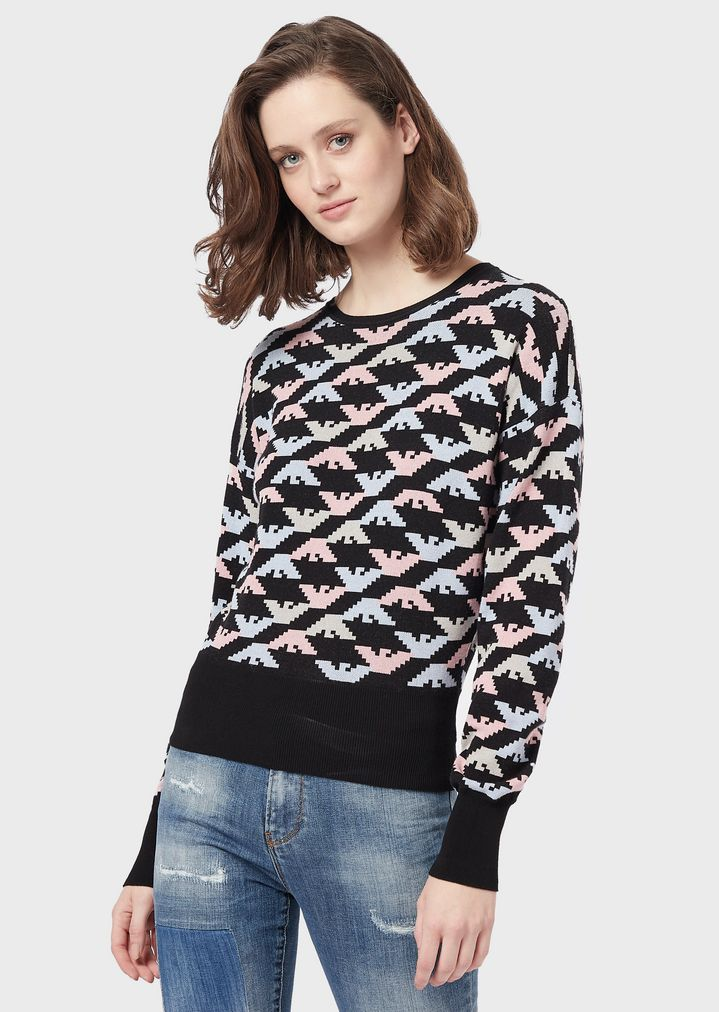 66724823ee Sweater with all-over jacquard eagles