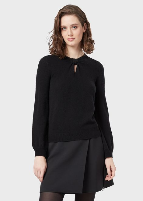 Pure cashmere sweater with keyhole and knot details