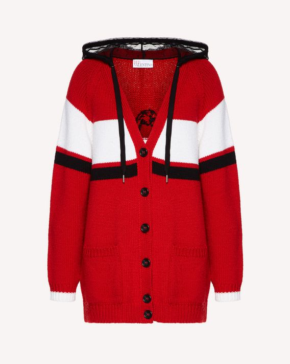 "REDValentino Oversized wool cardigan with ""Rebel"" jacquard"