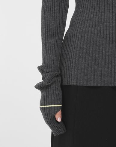 SWEATERS Stripe wool sweater Steel grey