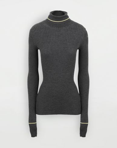 KNITWEAR Stripe wool sweater Steel grey