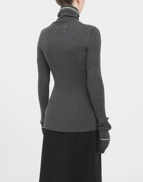 MAISON MARGIELA Stripe wool sweater High neck Woman e