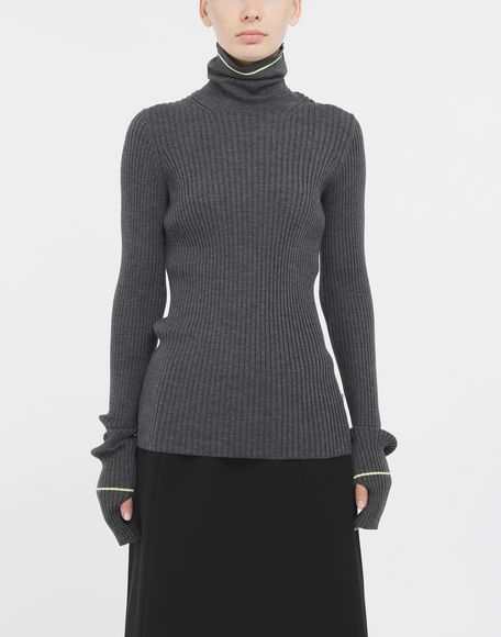 MAISON MARGIELA Stripe wool sweater High neck Woman r