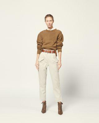 长袖针织套衫 高领 略微膨袖 针织细节   模特身高 180 cm,身穿法国尺码 38