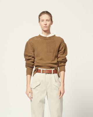 ISABEL MARANT ÉTOILE 长袖套衫 女士 长袖针织套衫 高领 略微膨袖 针织细节   模特身高 180 cm,身穿法国尺码 38 r