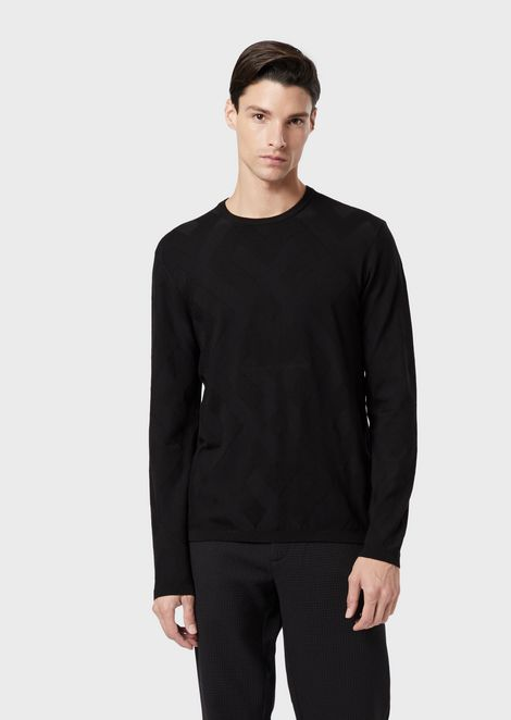 Crew-neck sweater with inlaid pattern