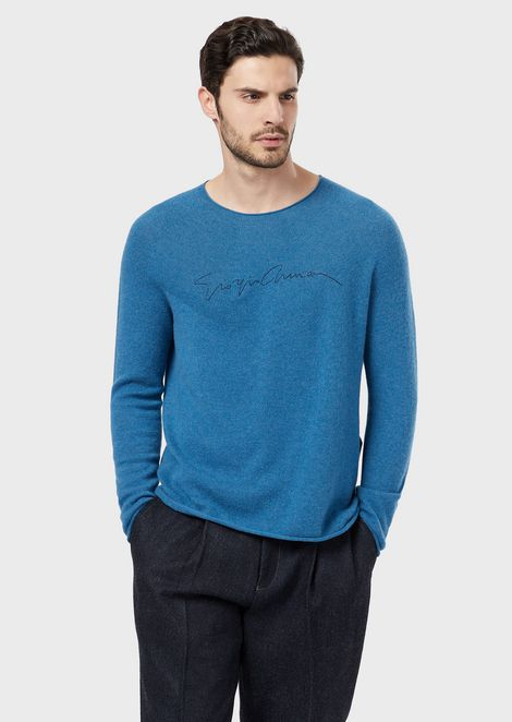 Cashmere sweater with pigmented signature print