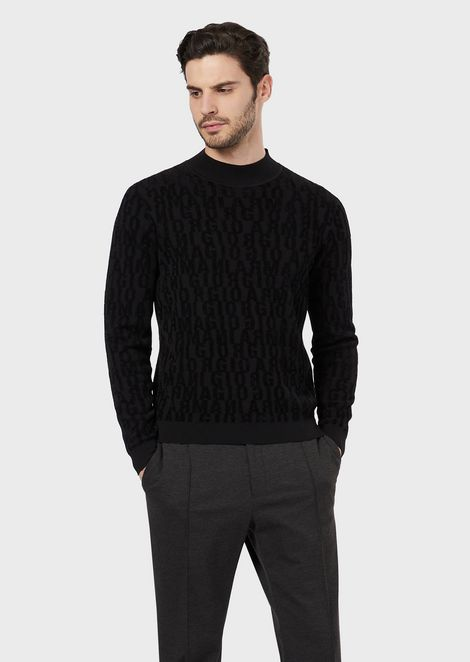 Virgin wool sweater with an intarsia profile of Mr Armani