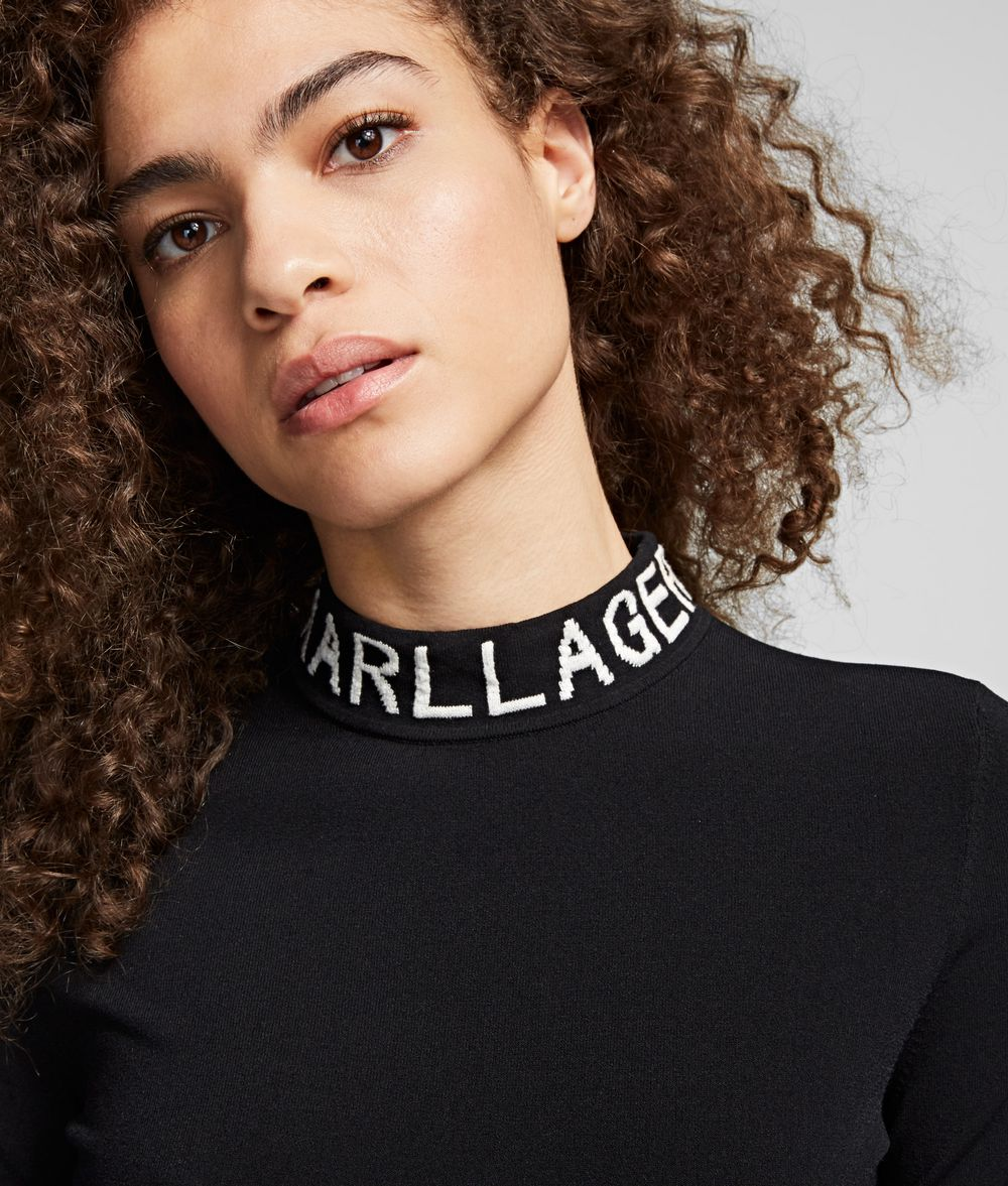 KARL LAGERFELD Logo Roll Neck Jumper Sweater Woman d
