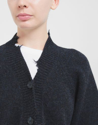 KNITWEAR Destroyed wool cardigan Blue