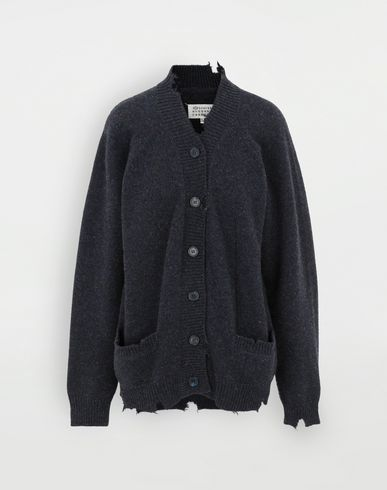 SWEATERS Destroyed wool cardigan Blue