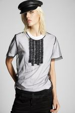 DSQUARED2 Tulle Jersey Ruffled T-Shirt Short sleeve t-shirt Woman