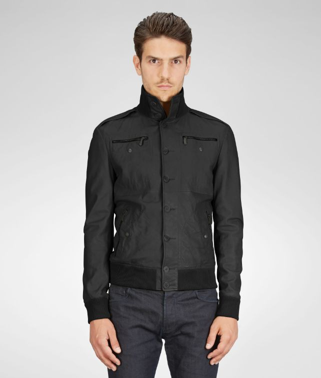 BOTTEGA VENETA BLOUSON IN NERO NAPPA Coat or Jacket U fp