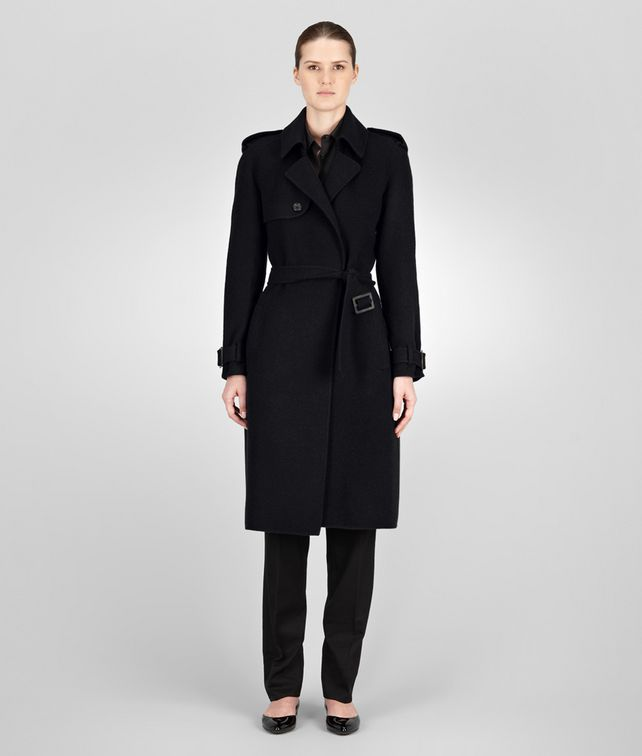 BOTTEGA VENETA TRENCH IN NERO DOUBLE CASHMERE Coat or Jacket D fp