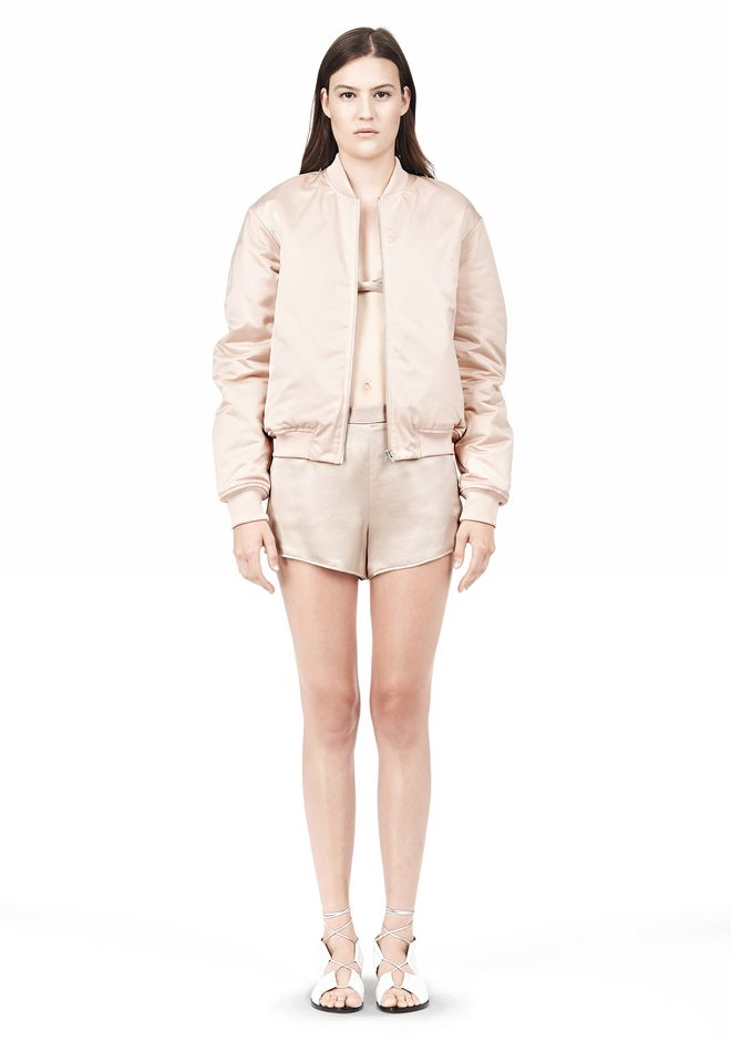 T by ALEXANDER WANG TECHNICAL MEMORY SATIN BOMBER JACKET BOMBER Adult 12_n_d