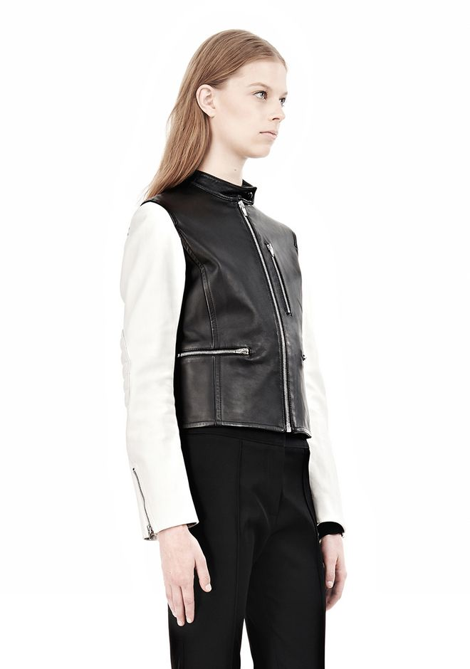ALEXANDER WANG ZIP UP MOTO JACKET WITH CONTRAST SLEEVES Jacket Adult 12_n_a
