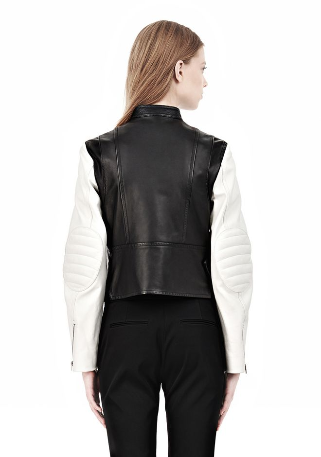 ALEXANDER WANG ZIP UP MOTO JACKET WITH CONTRAST SLEEVES Jacket Adult 12_n_d