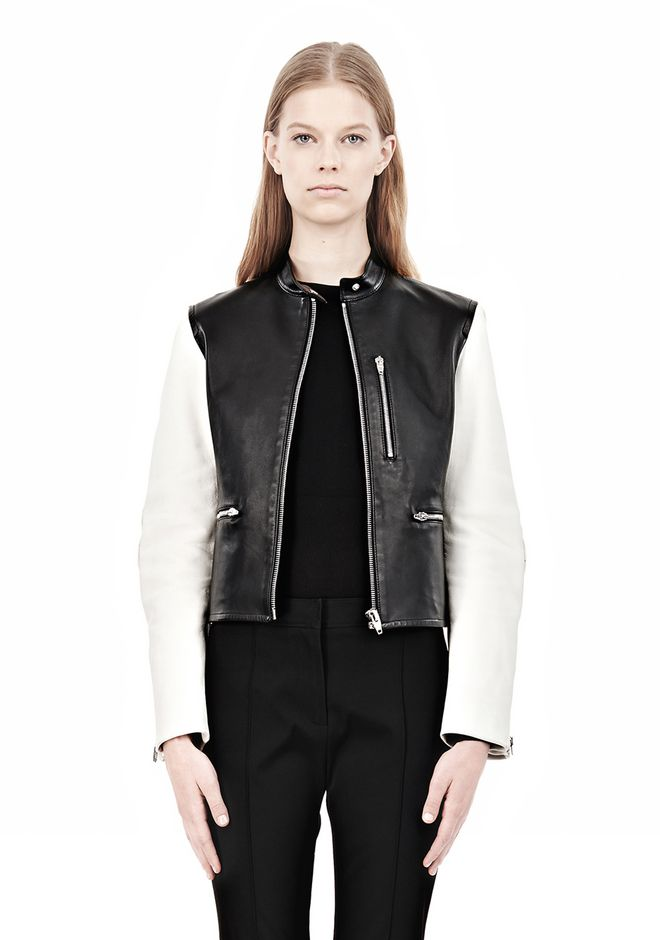 ALEXANDER WANG ZIP UP MOTO JACKET WITH CONTRAST SLEEVES Jacket Adult 12_n_e