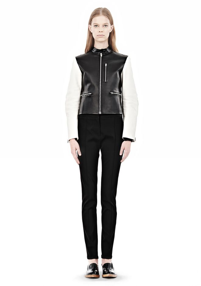 ALEXANDER WANG ZIP UP MOTO JACKET WITH CONTRAST SLEEVES Jacket Adult 12_n_f