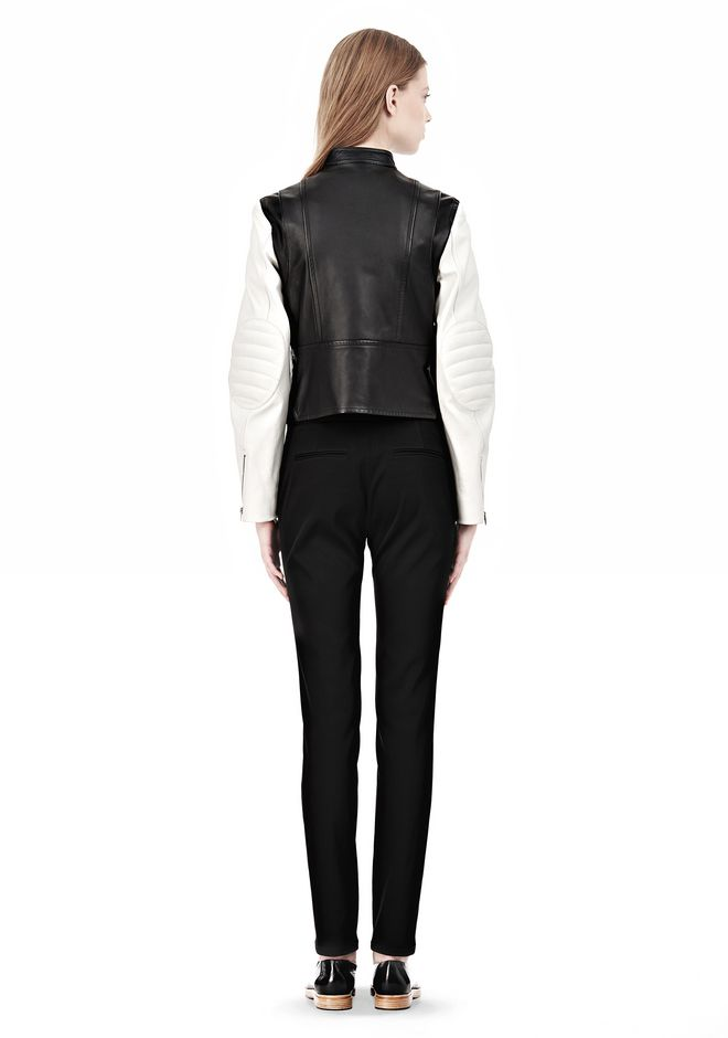 ALEXANDER WANG ZIP UP MOTO JACKET WITH CONTRAST SLEEVES Jacket Adult 12_n_r