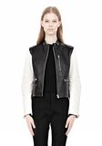ALEXANDER WANG ZIP UP MOTO JACKET WITH CONTRAST SLEEVES Jacket Adult 8_n_e