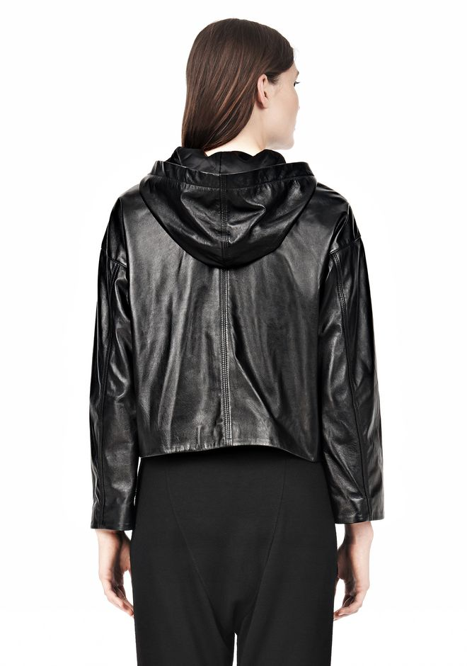 T by ALEXANDER WANG LIGHTWEIGHT LEATHER HOODED JACKET Jacket Adult 12_n_d