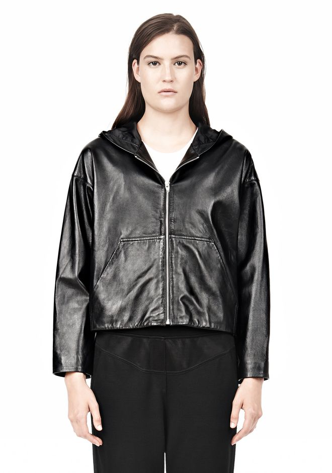 T by ALEXANDER WANG LIGHTWEIGHT LEATHER HOODED JACKET Jacket Adult 12_n_e