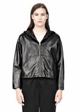 T by ALEXANDER WANG LIGHTWEIGHT LEATHER HOODED JACKET Jacket Adult 8_n_e