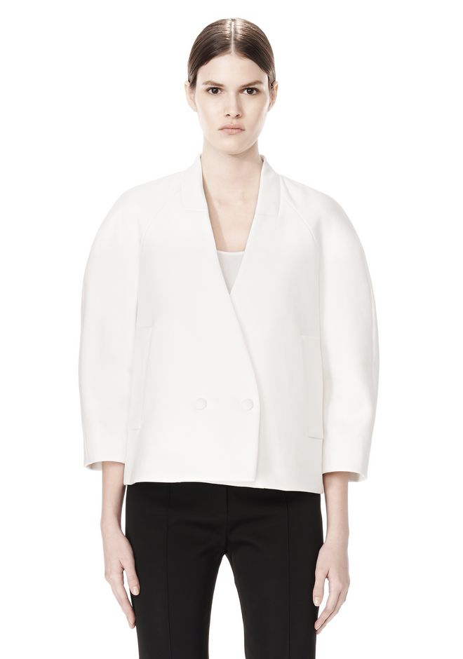 ALEXANDER WANG EXCLUSIVE CROPPED PEACOAT WITH SUSPENDED BACK JACKETS AND OUTERWEAR  Adult 12_n_e