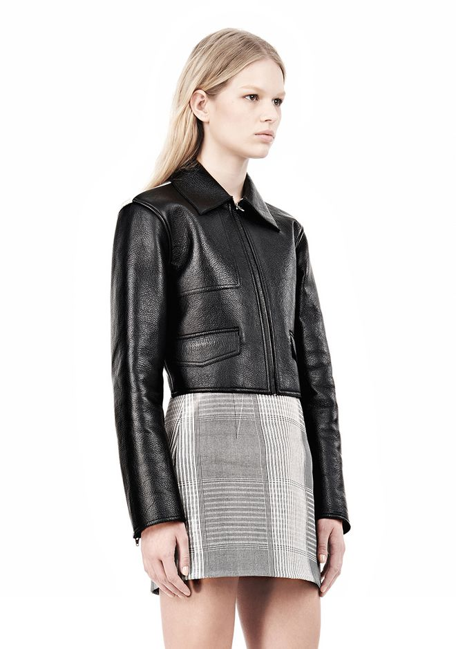 ALEXANDER WANG EXCLUSIVE BONDED ZIP FRONT JACKET WITH KNIT BACK Jacket Adult 12_n_a