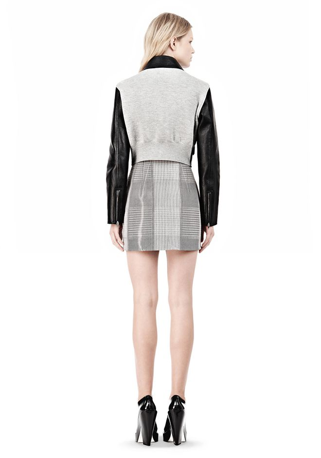 ALEXANDER WANG EXCLUSIVE BONDED ZIP FRONT JACKET WITH KNIT BACK Jacket Adult 12_n_r