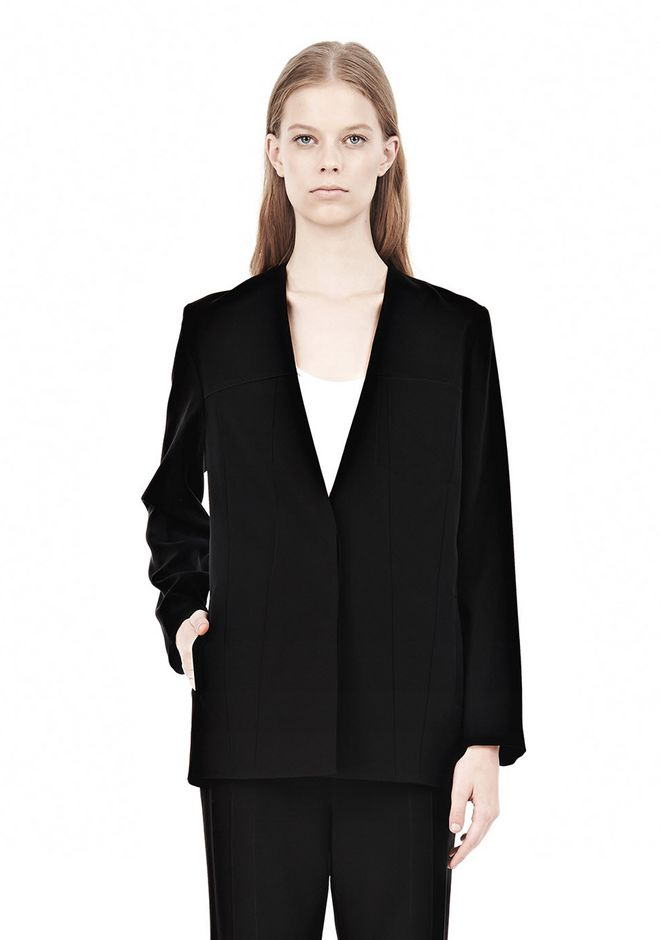 T by ALEXANDER WANG DRAPED SUITING COLLARLESS  BLAZER JACKETS AND OUTERWEAR  Adult 12_n_e